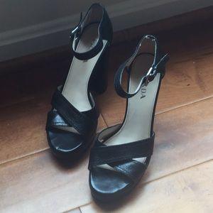 Prada black open toe clog pumps